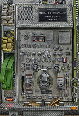 Photograph - Fire Truck Pump Control Panel by Guy Whiteley