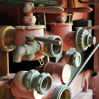 Photograph - fire Truck valves 20x20 by Nancy Greenland