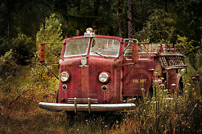 Photograph - Fire Truck With Texture by Mary Jo Allen