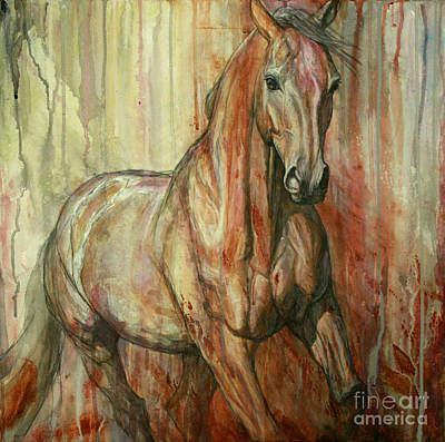 Horse Painting - Fire Within by Silvana Gabudean Dobre