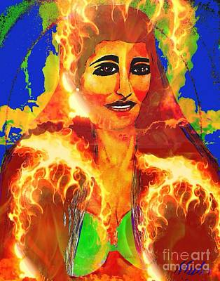 Painting - Fire Woman 2 by Saundra Myles