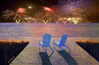 Painting - Fire Works - 4th Of July by Diane Romanello