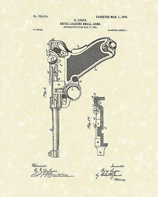 1904 Drawing - Firearm 1904 Patent Art by Prior Art Design