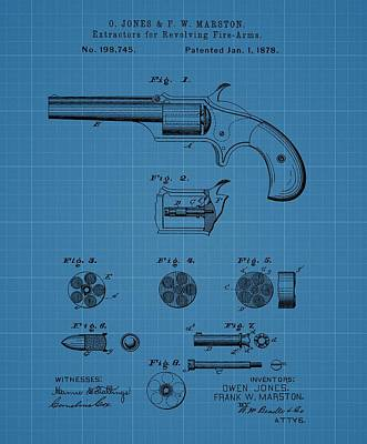 Old West Mixed Media - Firearm Extractor Blueprint Patent by Dan Sproul