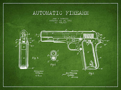 Firefighter Patents - Firearm Patent Drawing from 1911 - Green by Aged Pixel