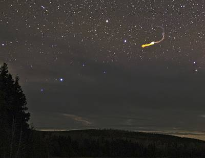 Burning Night Time Sky Photograph - Fireball Over Maine, Usa by Babak Tafreshi