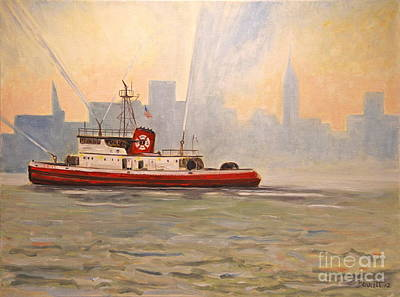 Fire Gear Painting - Fireboat John D. Mckean by Mark Barrett
