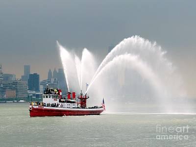 Photograph - Fireboat N.y.c. by Ed Weidman