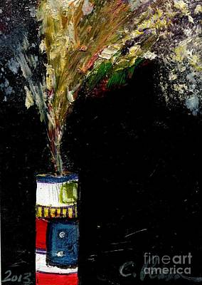 Fused Painting - Firecracker Explodes. Bang Series No. 5 Roman Candle by Cathy Peterson