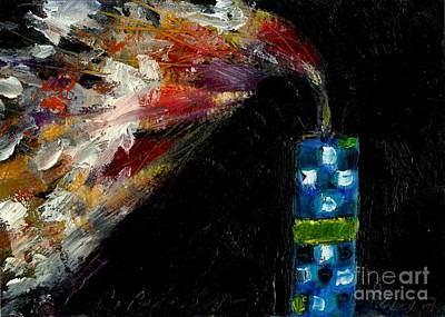 Fused Painting - Firecracker Explodes. Bang Series No. 8 Blue Checkered Flag by Cathy Peterson