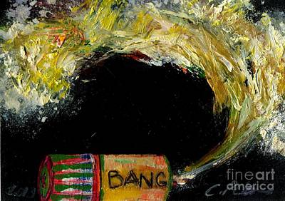 Fused Painting - Firecracker Explodes. Bang Series No. 9 Bang Stick by Cathy Peterson