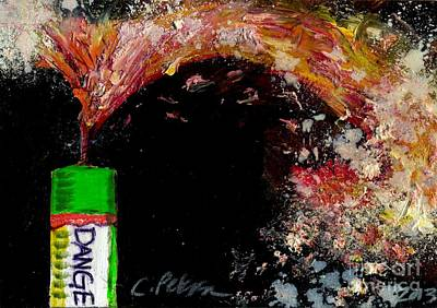 Fused Painting - Firecracker Explodes. Danger. Bang Series No. 1 by Cathy Peterson