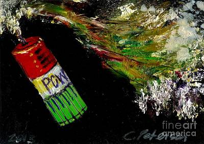 Fused Painting - Firecracker Explodes. Pow. Bang Series No. 3 by Cathy Peterson