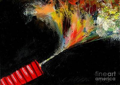 Fused Painting - Firecracker Explodes. Red Stick. Bang Series No. 4 by Cathy Peterson