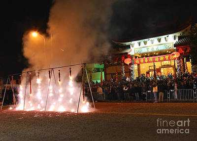 Firecrackers At Night During The Chinese New Years Celebration. Art Print by Jamie Pham