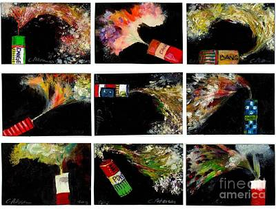 Fused Painting - Firecrackers Explode. Bang Series. No. 1 Thru 9 by Cathy Peterson