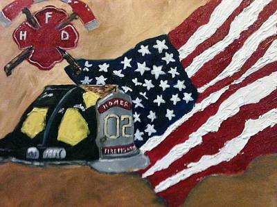 Painting - Firefighers Honored by Jenell Richards