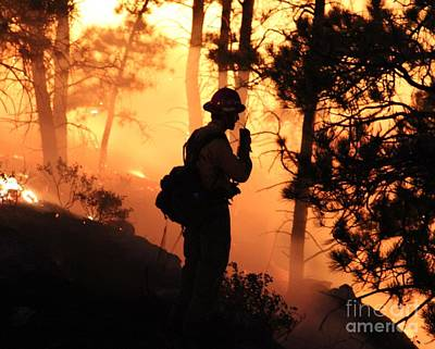 Firefighter At Night On The White Draw Fire Art Print by Bill Gabbert