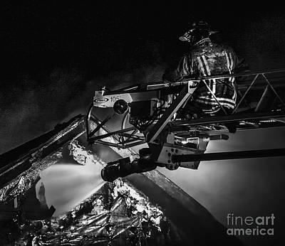 Photograph - Firefighter At Work by Jim Lepard