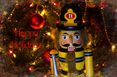 Photograph - Firefighter Happy Holiday by Susan McMenamin