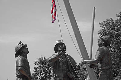 Photograph - Firefighter  Memorial   B - W by Susan  McMenamin
