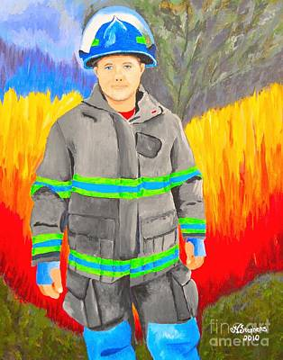 Fire Gear Painting - Firefighter by Nina Stephens