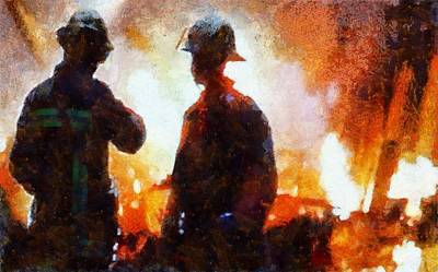Truck Mixed Media - Firefighters At The Scene by Dan Sproul