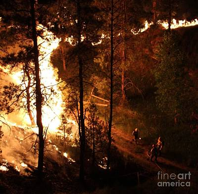 Firefighters Burn Out On The White Draw Fire Art Print by Bill Gabbert