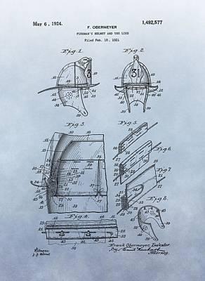 Firefighter's Helmet Patent Art Print by Dan Sproul
