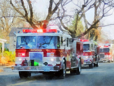 Photograph - Firefighters - Line Of Fire Engines In Parade by Susan Savad