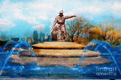 Digital Art - Firefighters Memorial Fountain Royals Blue Water by Andee Design