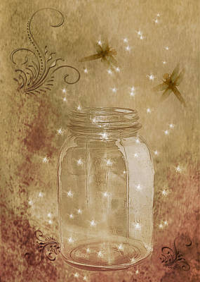 Fireflies And Dragonflies Art Print