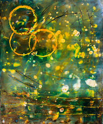 Mixed Media - Fireflies Encaustic by Bellesouth Studio