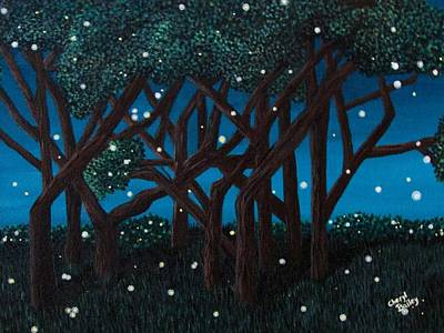 Art Print featuring the painting Fireflies by Cheryl Bailey