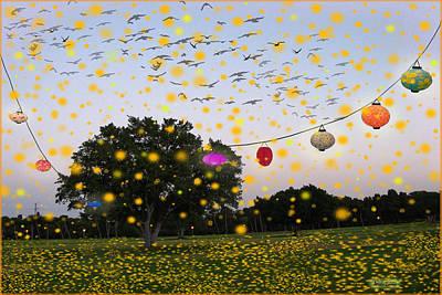 Israeli Mixed Media - Fireflies Summer's Festival by Ariela Zman