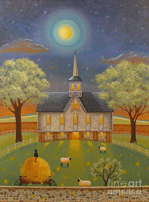Barn Landscape Painting - Firefly Evening by Mary Charles