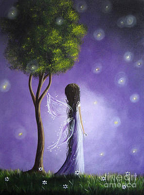 Black Hair Painting - Original Fairy Art By Shawna Erback by Shawna Erback