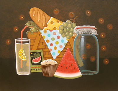 Cupcake Painting - Firefly Picnic by Mary Charles