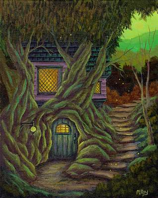 Treehouse Painting - Firefly Treehouse by Marisa Ray