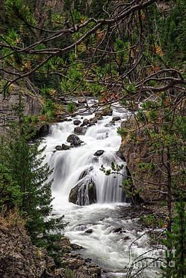 Yellowstone Photograph - Firehole River Waterfall Yellowstone Np by Edward Fielding