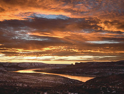 Photograph - Firehole Sunset by David Halter