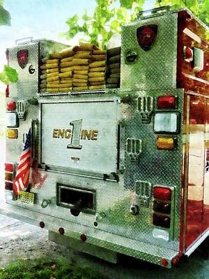 Photograph - Fireman - Back Of Fire Truck Closeup by Susan Savad