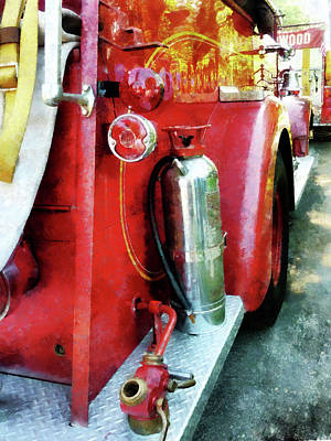 Photograph - Fireman - Fire Extinguisher On Fire Truck by Susan Savad