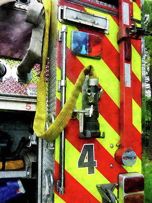 Photograph - Fireman - Fire Hose On Striped Fire Engine by Susan Savad