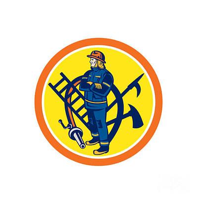 Fireman Firefighter Fire Hose Ladder Circle Art Print by Aloysius Patrimonio