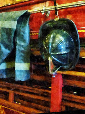Fireman - Fireman's Helmet And Jacket Art Print by Susan Savad