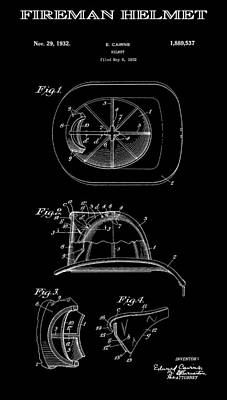 Safety Gear Digital Art - Fireman Helmet 2 Patent Art  1932 by Daniel Hagerman