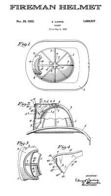 Safety Gear Digital Art - Fireman Helmet 3 Patent Art  1932 by Daniel Hagerman
