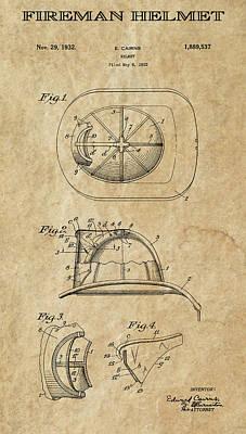 Safety Gear Digital Art - Fireman Helmet Patent Art  1932 by Daniel Hagerman