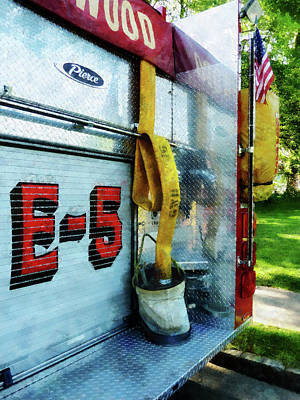 Photograph - Fireman - Hose In Bucket On Fire Truck by Susan Savad